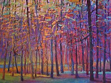 Orange and Red Woods by Ken Elliott (Oil Painting)