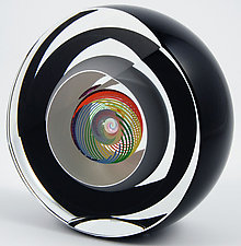 Saturn Rainbow Paperweight by Paul D. Harrie (Art Glass Paperweight)
