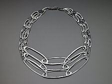 Three Strand Carved Ovals Necklace by Heather Guidero (Silver Necklace)