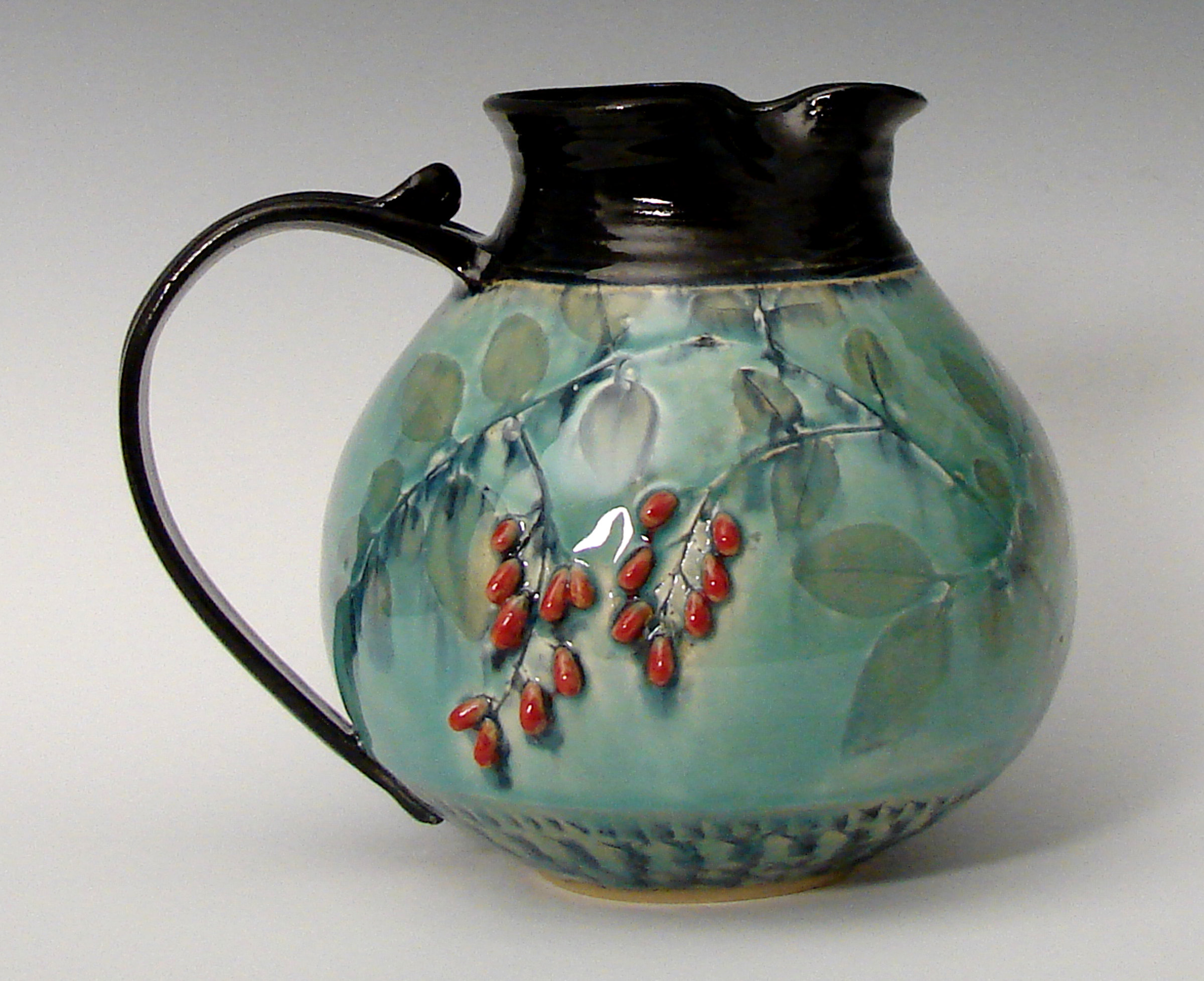 pitcher ceramic pottery crane berries chubby pitchers clay suzanne ceramics stoneware artfulhome artful unique because thrown vases created wheel pulled