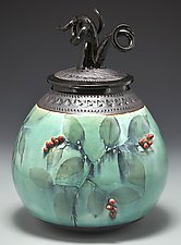 Egg Medusa with Red Berries by Suzanne Crane (Ceramic Vessel)