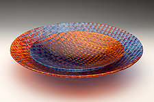 Red and Blue Tapestry Bowls by Richard Parrish (Art Glass Bowl)