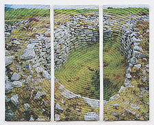 Old Stones Triptych by Marilyn Henrion (Fiber Wall Art)