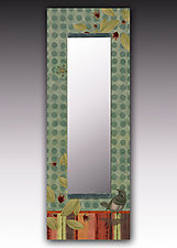 Bird in Aqua Wall Mirror by Janna Ugone and Justin Thomas (Mixed-Media Mirror)