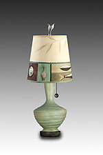 Old Copper Ceramic Table Lamp with Small Drum Shade in Twin Fish by Janna Ugone (Mixed-Media Table Lamp)
