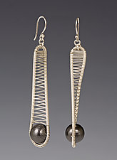 Silver Drop Earrings with Oxidized Ball by Tana Acton (Silver & Copper Earrings)