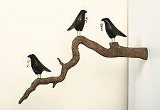 Three Ravens on Trompe L'oeil Branch by Mark Orr (Wood Wall Sculpture)