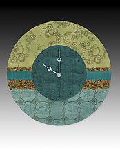 Paradise in Pool Wall Clock by Janna Ugone and Justin Thomas (Mixed-Media Clock)