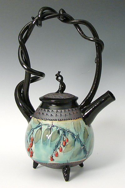 Basket Handled Teapot with Red Berries