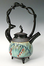 Basket Handled Teapot with Red Berries by Suzanne Crane (Ceramic Teapot)
