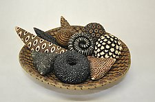 Earth Toned Bowl and Rattles by Kelly Jean Ohl (Ceramic Sculpture)