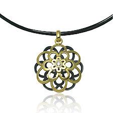 Kiku Pendant by Keiko Mita (Gold, Silver, & Stone Necklace)