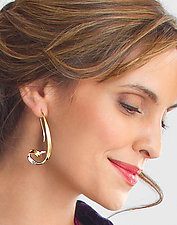 Whooping Crane Earrings by Nancy Linkin (Gold & Silver Earrings)