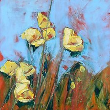 Blue Sky Poppy I by Denise Souza Finney (Acrylic Painting)