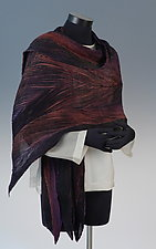 Arashi Shawl in Black and Multi-color by Anne Vincent  (Silk Scarf)