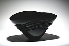 Black Fan Bowl by Ian Whitt (Art Glass Bowl)