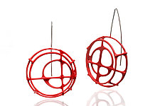 Structural Circle Earrings in Red by Donna D'Aquino (Silver Earrings)