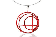 Large Structural Circle Necklace in Red by Donna D'Aquino (Silver Necklace)