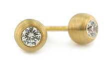 Duality Stud: 18K + Diamond by Catherine Iskiw (Gold & Stone Earrings)
