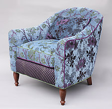 Julia Chair in Blue Lavender by Mary Lynn O'Shea (Upholstered Chair)