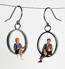 Sitting People Earrings by Kristin Lora (Silver Earrings)