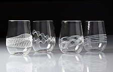 White Spiro Stemless Wine Glasses by Frost Glass (Art Glass Drinkware)