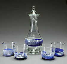 Blue Banded Whiskey Glasses and Decanter set by Frost Glass (Art Glass Decanter and Glasses)