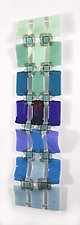 Graduated Grid - Green to Blue by Nina  Cambron (Art Glass Wall Sculpture)