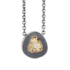 Tiny Erosion Pendant with Diamond by Jenny Reeves (Gold, Silver, & Stone Necklace)
