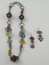 Anodized Necklace & Earring Set by Sylvi Harwin (Aluminum Jewelry)