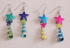 Star Earrings with Dangle by Sylvi Harwin (Aluminum Earrings)