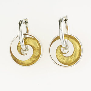 Gold Wave Pinwheel Earrings