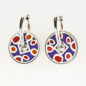 Red and Purple Pinwheel Earrings
