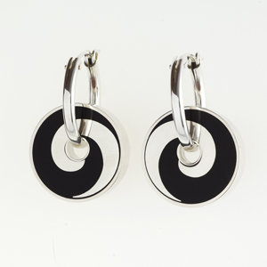Black Swirl Pinwheel Earrings