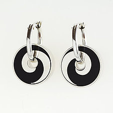 Black Swirl Pinwheel Earrings by Victoria Varga (Silver & Resin Earrings)