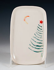 Christmas Tree Porcelain Tray by Carol Barclay (Ceramic Tray)