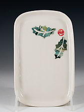 Festive Holly Tray by Carol Barclay (Ceramic Tray)