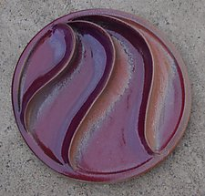 Russet Curler by Sara Baker (Ceramic Wall Sculpture)