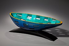 Cobalt Turquoise Boat by Joel Hunnicutt (Wood Sculpture)