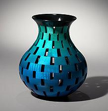Cobalt Turquoise Fade Bottle by Joel Hunnicutt (Wood Sculpture)