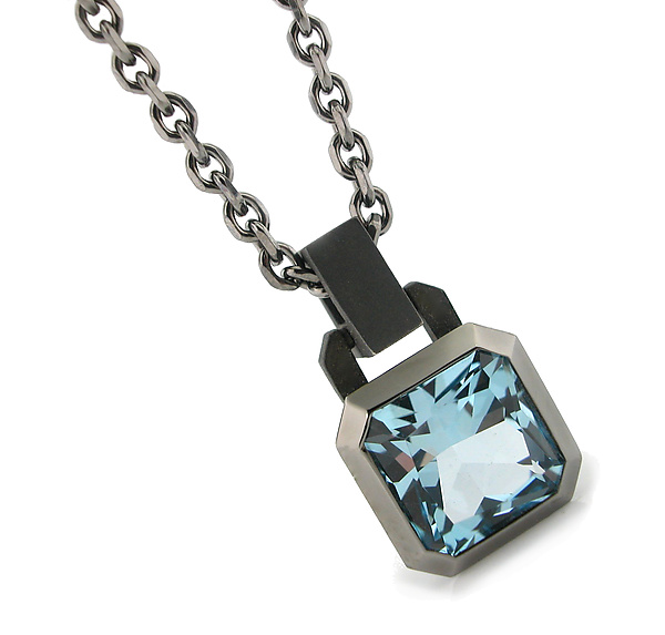 Oblique Pendant in Blackened Silver + Blue Topaz