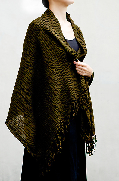 Pleated Wool Stole