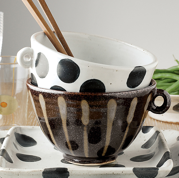 Patterned Stoneware: Soup and Latte Bowls in Black Dot and Gold Stripe