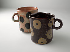 Patterned Stoneware Mugs: Dot and Donut by Michael Jones (Ceramic Mugs)