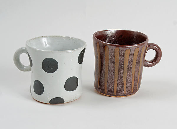 Patterned Stoneware Mugs: Black Dot and Gold Stripe