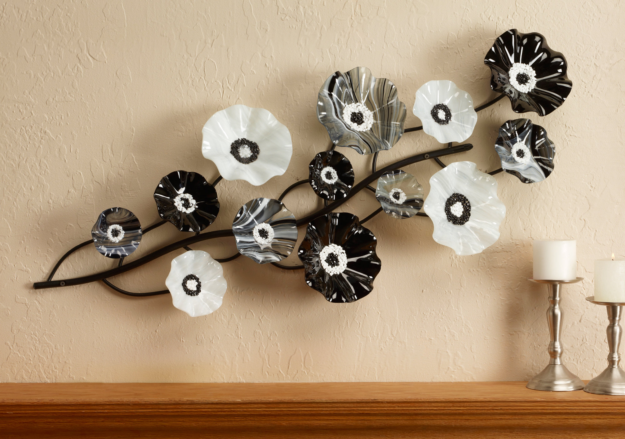Black white wall vine by scott johnson and shawn johnson art glass wall sculpture artful home - Sculpture wall decor ...