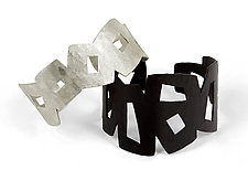 Graphic Cuffs by Jennifer Bauser (Copper & Silver Bracelets)