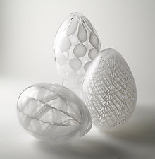 White Cane Eggs by Paul Lockwood (Art Glass Sculpture)