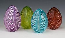 Spring Ribbon Eggs by Paul Lockwood (Art Glass Sculpture)