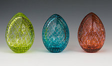 Spring Bubble Eggs by Paul Lockwood (Art Glass Sculpture)
